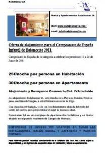 Campeonato de España de Baloncesto Infantil Femenino 2011.Oferta de Alojamiento