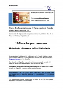 Copa de España de Baloncesto Junior 2011.Oferta de alojamiento