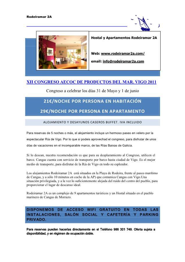 OFERTA DE ALOJAMIENTO XII CONGRESO AECOC DE PRODUCTOS DEL MAR. VIGO 2011