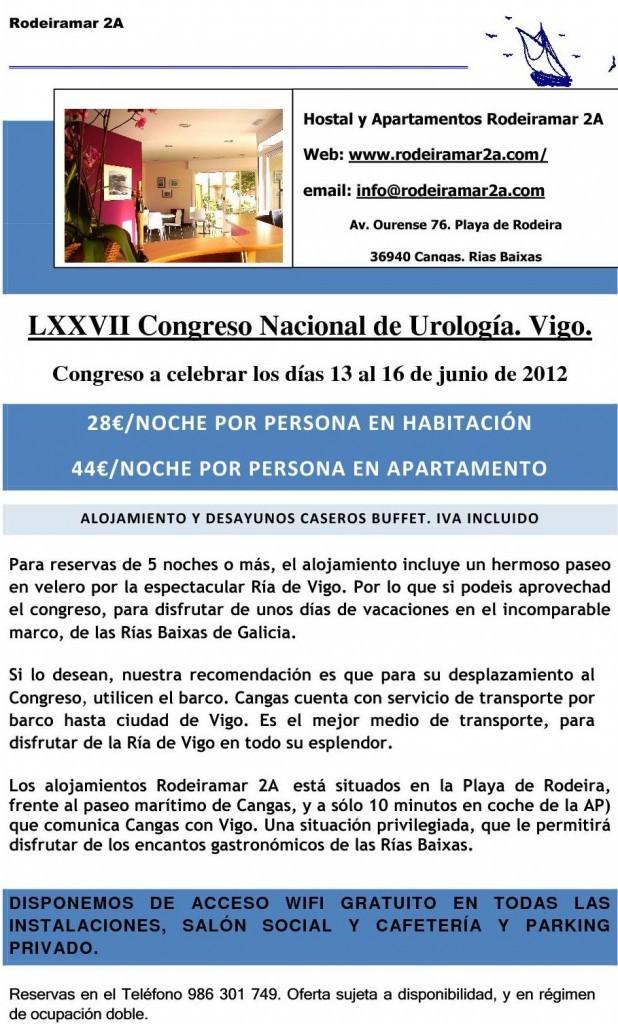 OFERTA DE ALOJAMIENTO LXXVII CONGRESO NACIONAL DE UROLOGIA VIGO 2012